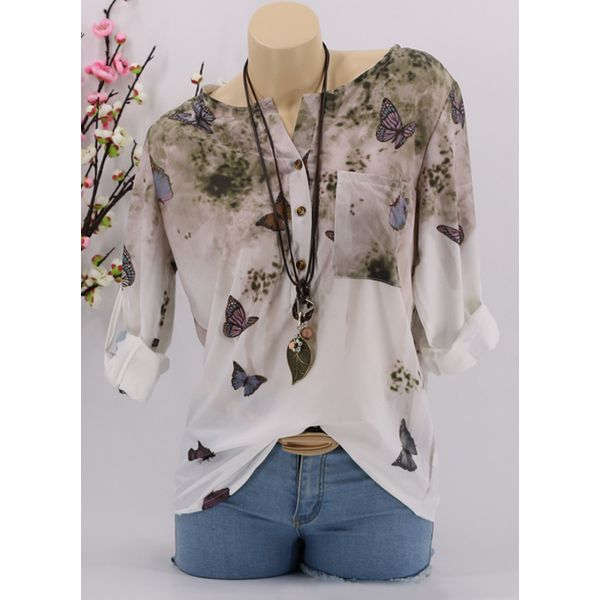 Floral Casual Round Neckline 3/4 Sleeves Blouses (1645377542) 9