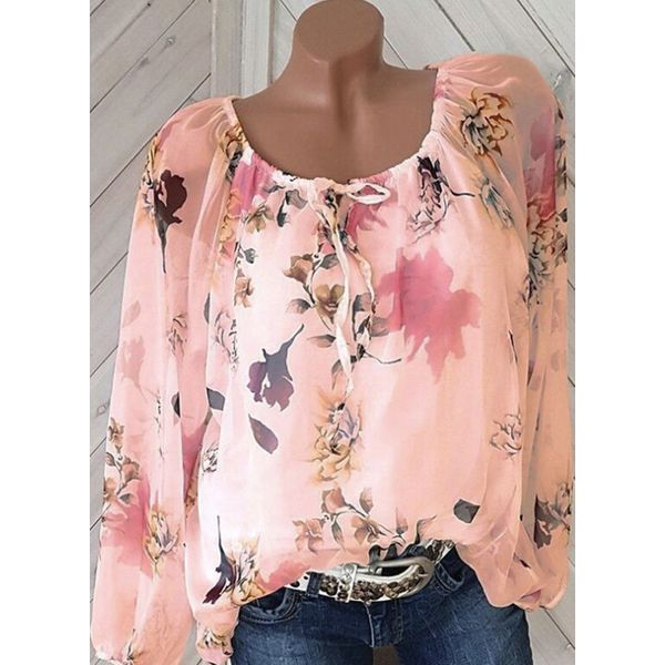 Floral Casual Round Neckline Long Sleeve Blouses (1645559849)