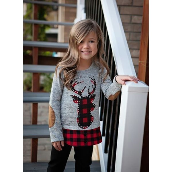 Girls' Cute Patchwork Daily Long Sleeve Clothing Sets (30145337715)