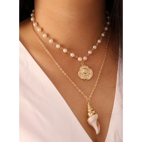 Casual Geometric Ball Pearls Pendant Necklaces (1845562591)