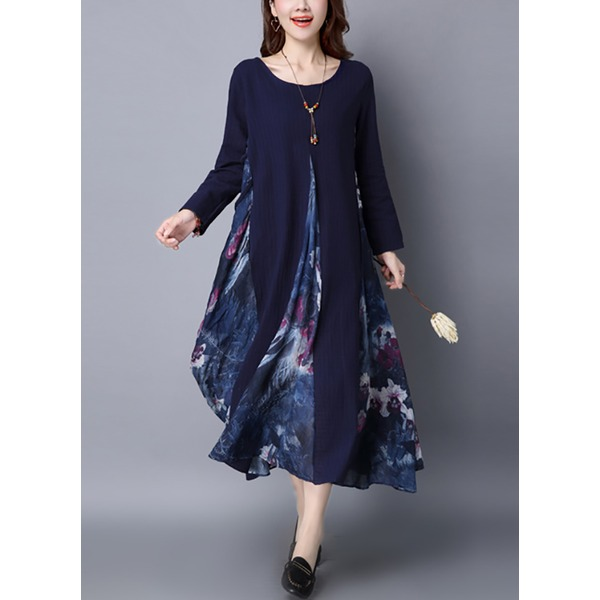 Floral Long Sleeve Maxi Shift Dress (1955250891) 2