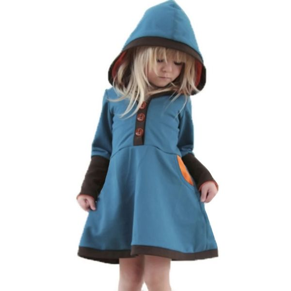Girls' Casual Color Block Daily Long Sleeve Dresses (30135363158) 1