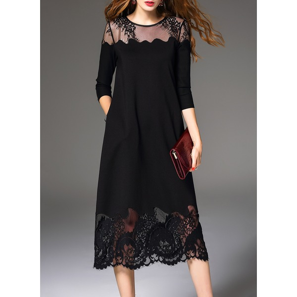 Solid Hollow Out 3/4 Sleeves Midi A-line Dress (1955191752) 1