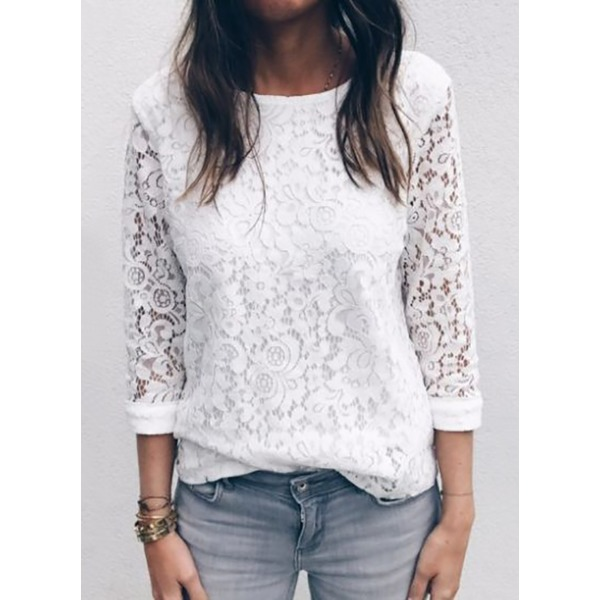 Solid Casual Round Neckline 3/4 Sleeves Blouses (1645270005) 6
