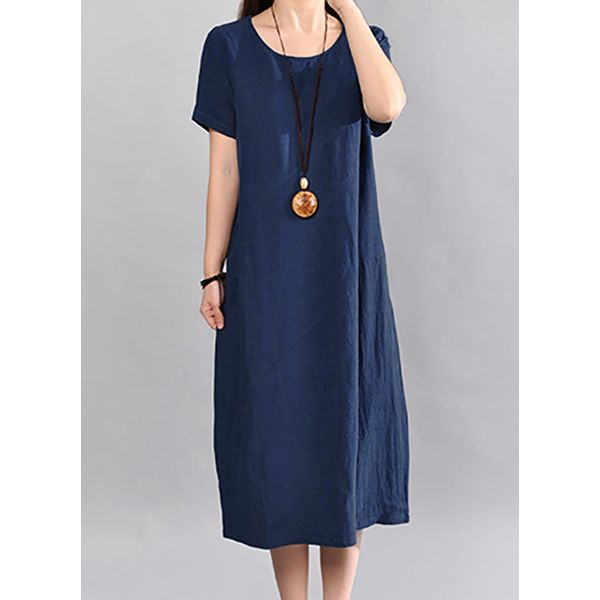 Solid Short Sleeve Midi Shift Dress (1955268971) 6