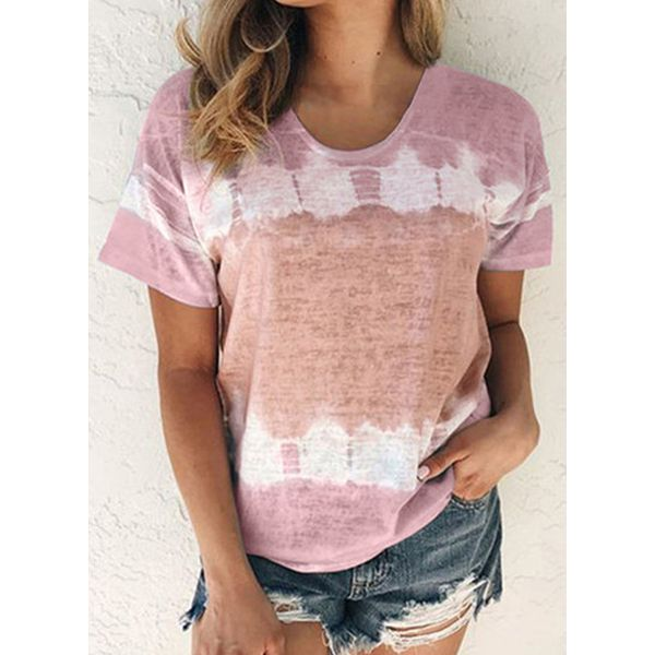 Color Block Round Neck Short Sleeve Casual T-shirts (1685572822)