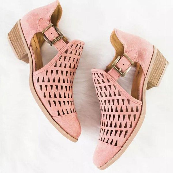 Buckle Hollow-out Closed Toe Low Heel Shoes (1625382115) 10