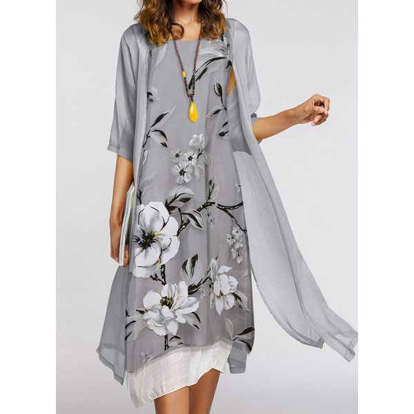Casual Floral Tunic Round Neckline Shift Dress (1955543806)