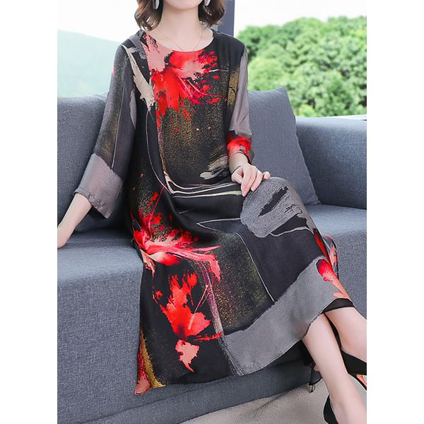 Chinese Casual Floral Tunic Round Neckline A-line Dress (1955597070)