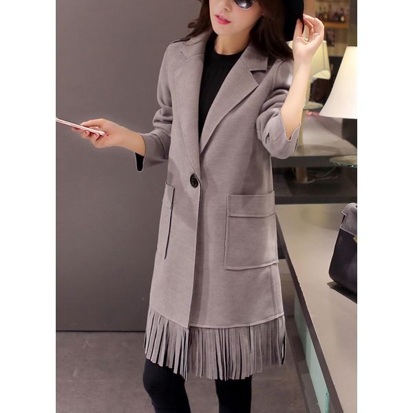 Long Sleeve Lapel Pockets Coats (1715380971) 10
