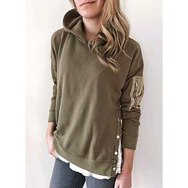 Color Block Casual Hooded Buttons Sweatshirts (1635378868) 3