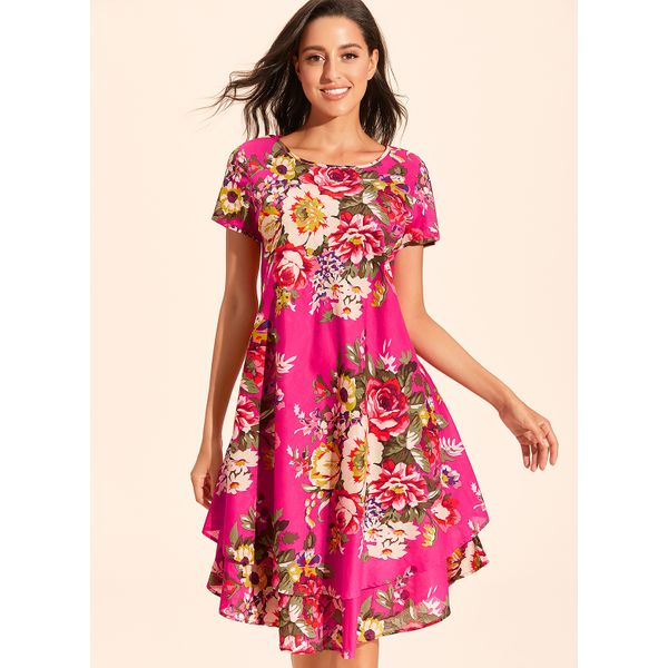 Chinese Casual Floral Ruffles Round Neckline A-line Dress (01955427990)