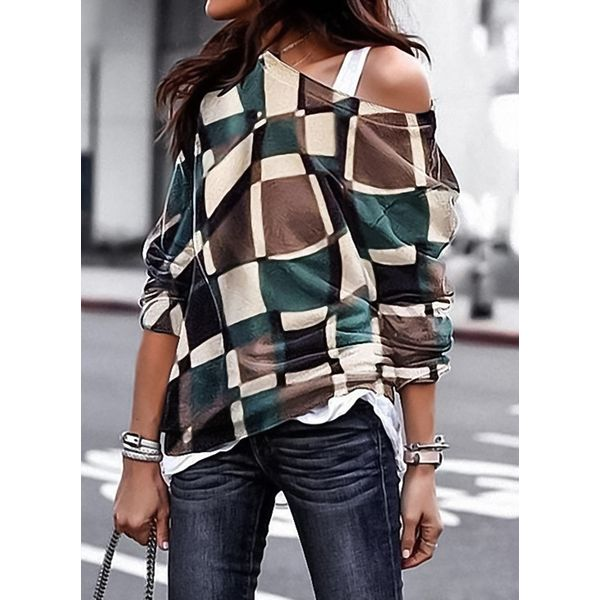 Color Block Casual Others Long Sleeve Blouses (1645370722)