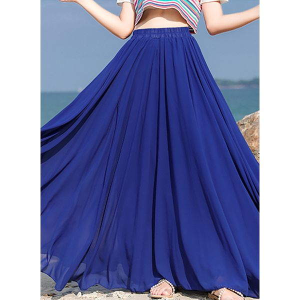 Solid Maxi Casual Skirts (1725585629)