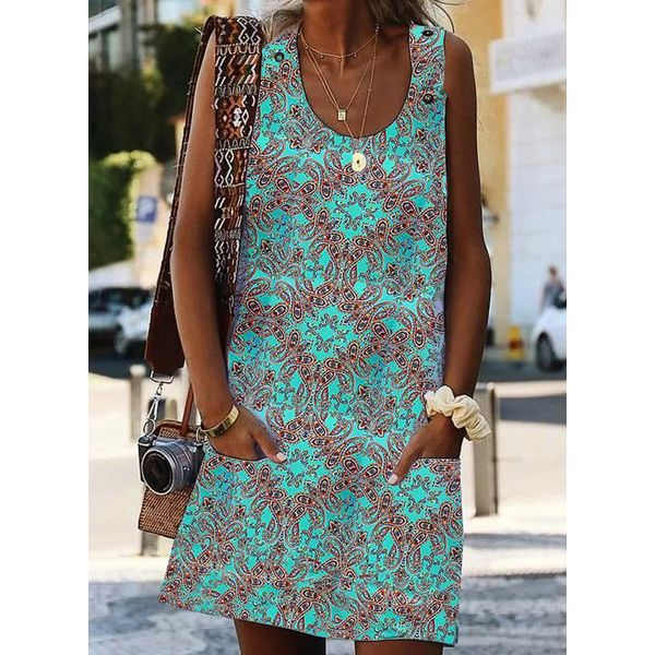 Casual Floral Tunic Round Neckline Shift Dress (1955423326)