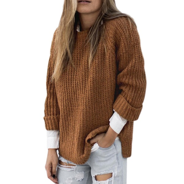 Round Neckline Solid Loose Sweaters (1675312779) 5