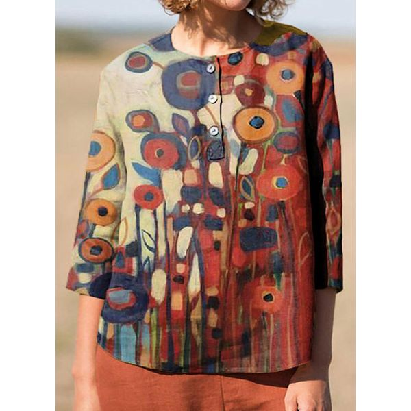 Floral Casual Round Neckline 3/4 Sleeves Blouses (1645555992)