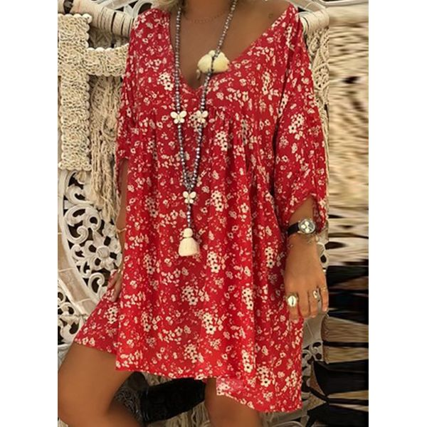 Plus Size Floral 3/4 Sleeves Above Knee Shift Dress (1955381681) 2