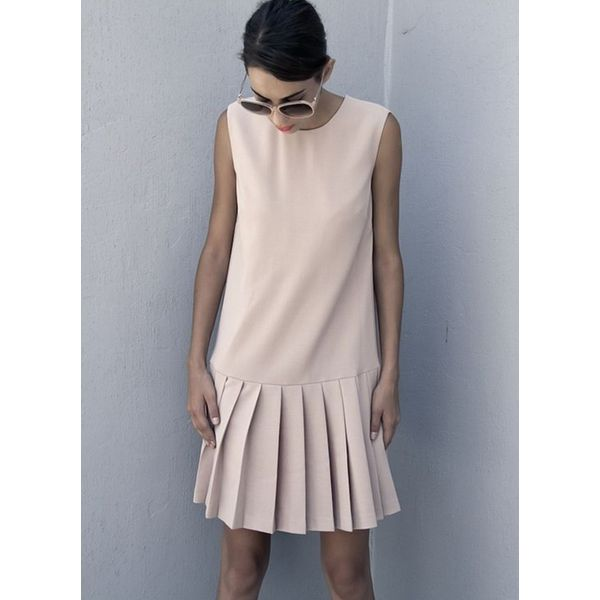 Solid Drop waist Sleeveless Above Knee Shift Dress (1955375360)