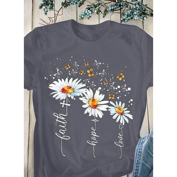 Floral Round Neck Short Sleeve Casual T-shirts (1685587876)