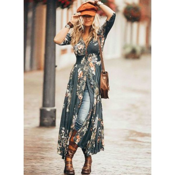 Floral V-Neckline Half Sleeve Maxi X-line Dress (1955393071, Dark blue