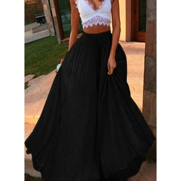 Solid Maxi Casual Skirts (1725596308)