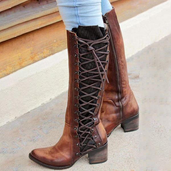 Lace-up Mid-Calf Boots Chunky Heel Shoes (1625381401) 11