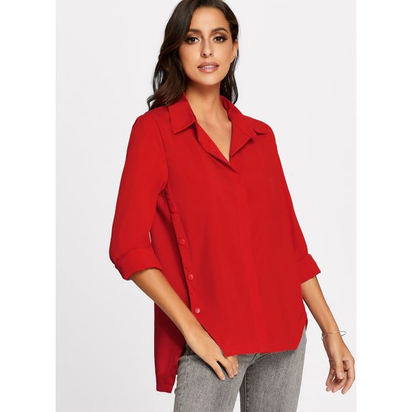 Solid Casual Collar Long Sleeve Blouses (01645374991) 11