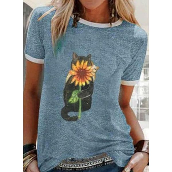 Floral Round Neck Short Sleeve Casual T-shirts (1685597721)