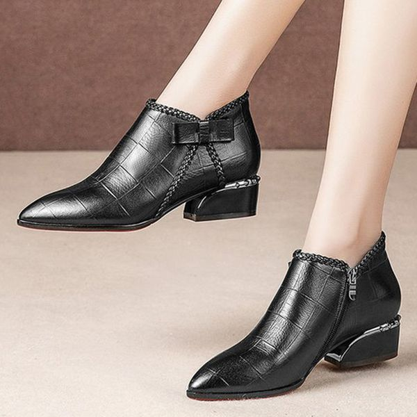 Women's Zipper Ankle Boots Chunky Heel Boots (1625470543)