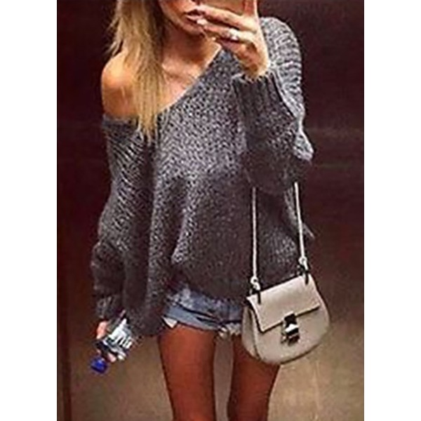 Collar Solid Loose Sweaters (1675221735) 4