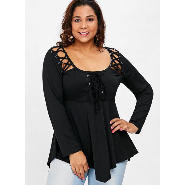 Plus Size Solid Sexy Round Neckline Long Sleeve Blouses (1645377239) 10