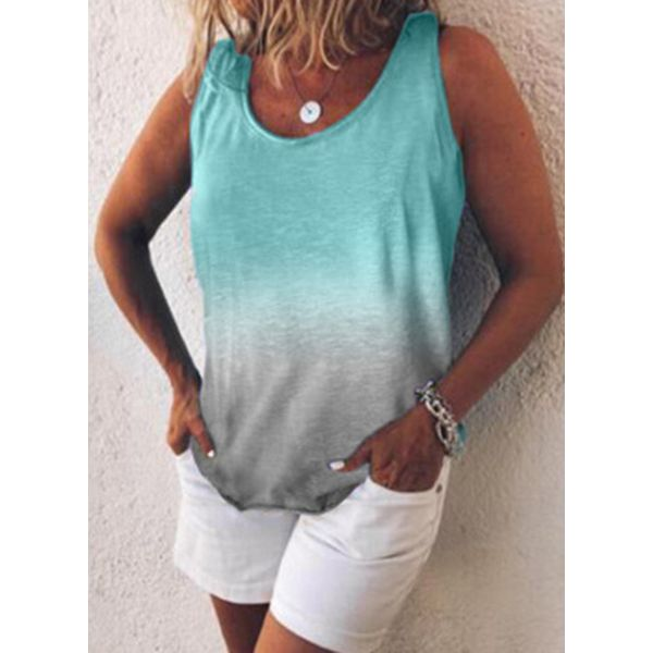 Color Block Round Neck Sleeveless Casual T-shirts (1685574900)