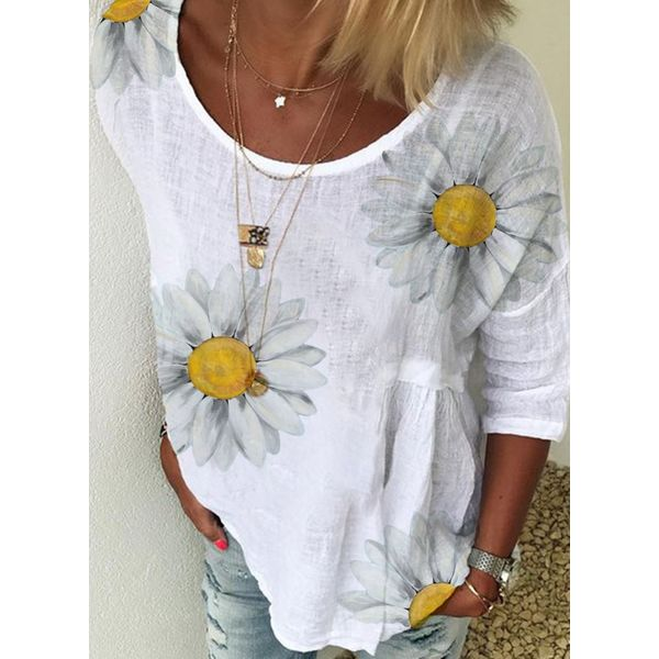 Floral Casual Round Neckline 3/4 Sleeves Blouses (1645579924)