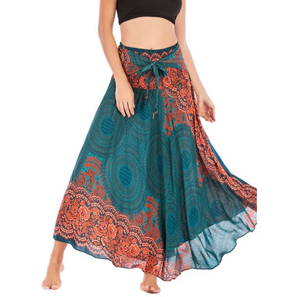 Floral Maxi Casual Sashes Skirts (1725597529)