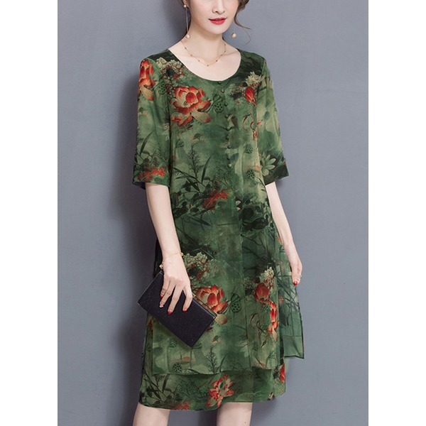 Chinese Style Floral Tunic Round Neckline A-line Dress (1955252030)