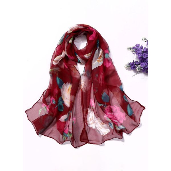 Casual Floral Scarves (1775411682, Rose