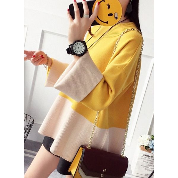 Round Neckline Color Block Loose Long Shift Sweaters (1675376848) 5