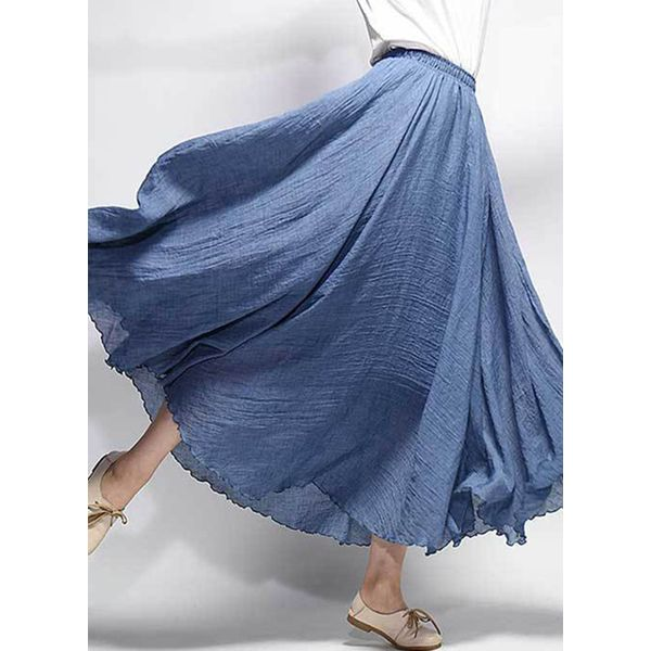 Solid Maxi Casual Skirts (1725381545) 5