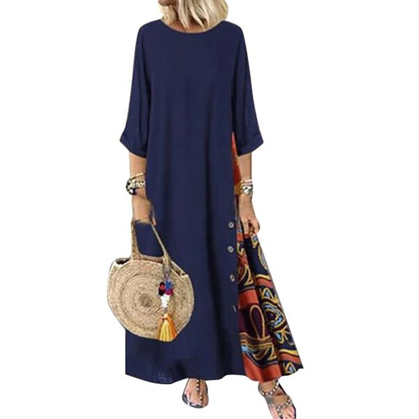 Casual Floral Tunic Round Neckline Shift Dress (1955522522)