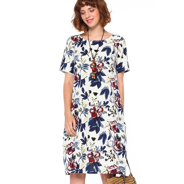 Floral Short Sleeve Knee-Length Shift Dress (1955194987) 10