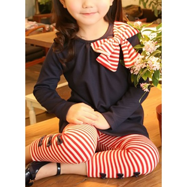 Girls' Casual Stripe Daily Long Sleeve Clothing Sets (30145329558) 2