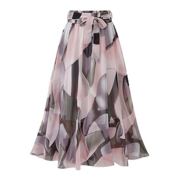Color Block Mid-Calf Casual Sashes Skirts (1725585639)