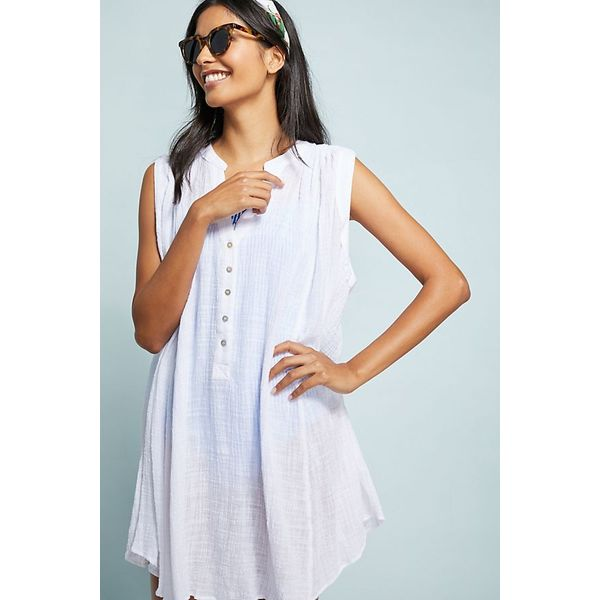 Casual Solid Buttons Tunic Shift Dress (01955412933)