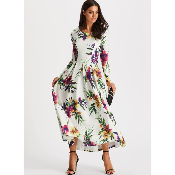 Floral Long Sleeve Maxi X-line Dress (01955379831) 2