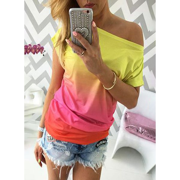 Color Block Round Neck Short Sleeve Casual T-shirts (1685381602, Orange;pink
