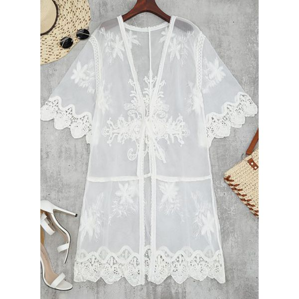 Lace Solid Floral Cover-Ups Swimwear (30015376384) 11