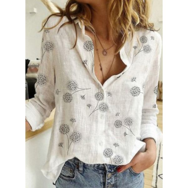 Floral Casual Collar Long Sleeve Blouses (1645598835)