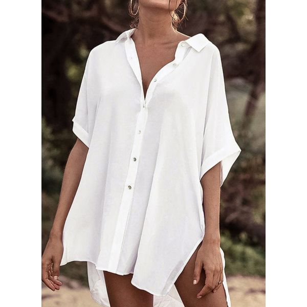 Polyester Solid Cover-Ups Swimwear (30015598646)