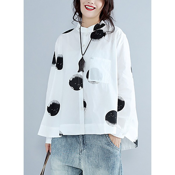 Polka Dot Casual Round Neckline Long Sleeve Blouses (1645276478) 6